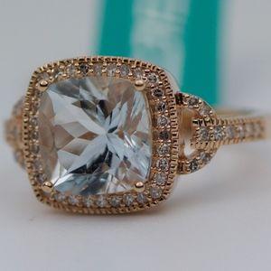 EFFY 14k Rose Gold Aquamarine And Diamond Ring